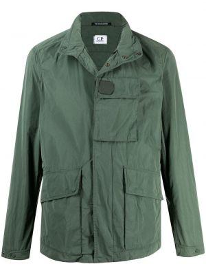 Зеленая куртка с нашивками на молнии C.p. Company