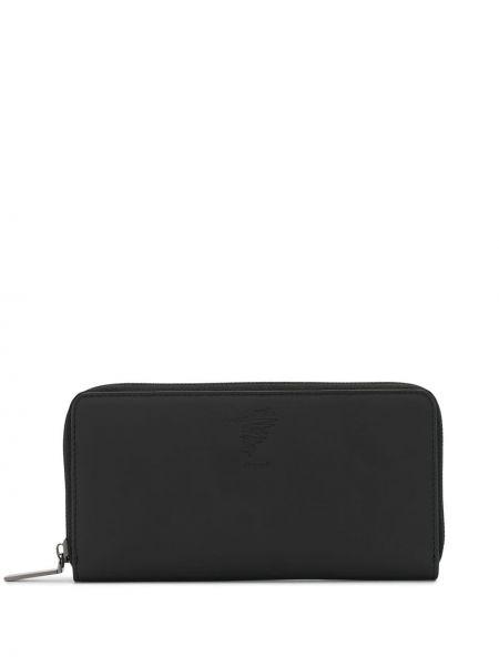Кожаный черный кошелек на молнии со шлицей Discord Yohji Yamamoto