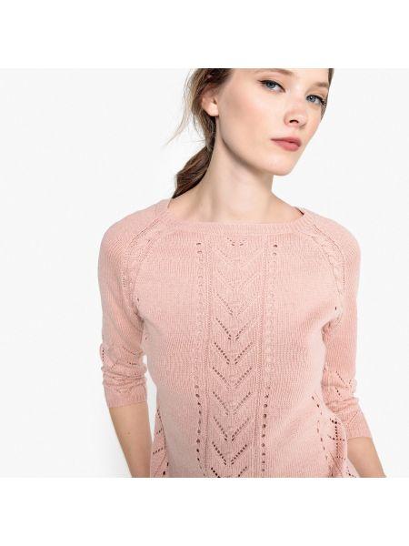 Ажурный пуловер шерстяной акриловый La Redoute Collections