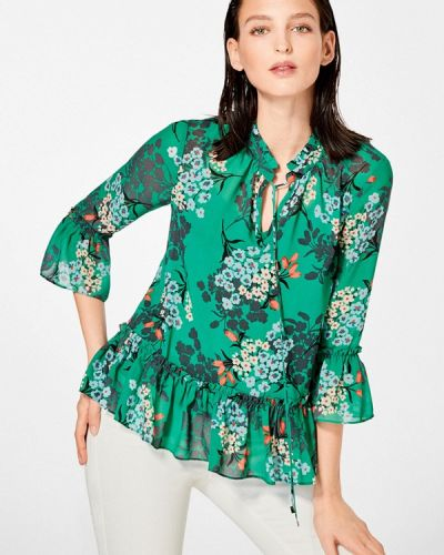 Зеленая блузка с рюшами Pedro Del Hierro