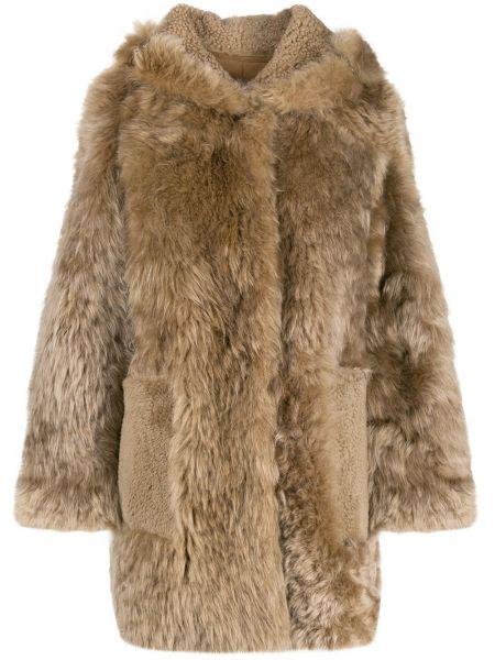 Коричневое кожаное пальто с капюшоном Yves Salomon Meteo
