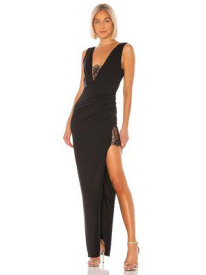 Czarna sukienka na wesele koronkowa z falbanami Katie May