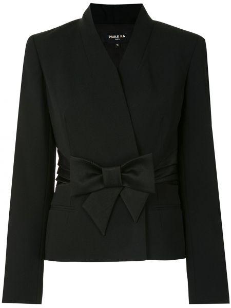 Черный удлиненный пиджак с поясом с запахом Paule Ka