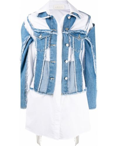 Хлопковая белая джинсовая куртка с воротником Loulou