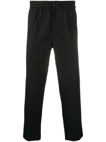 Czarne spodnie wełniane zapinane na guziki Ami