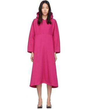 Платье макси розовое с капюшоном Balenciaga