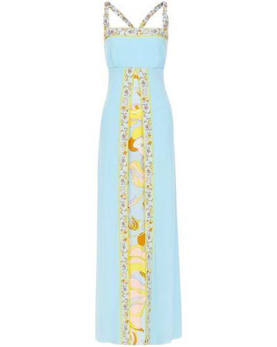 Платье макси с цветочным принтом на молнии Emilio Pucci