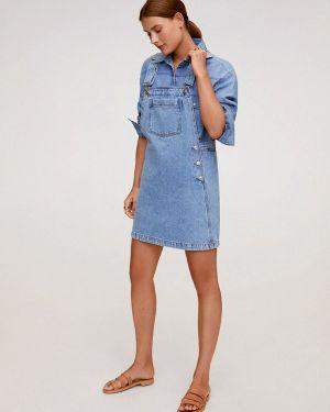 Джинсовое платье платье-сарафан синее Mango