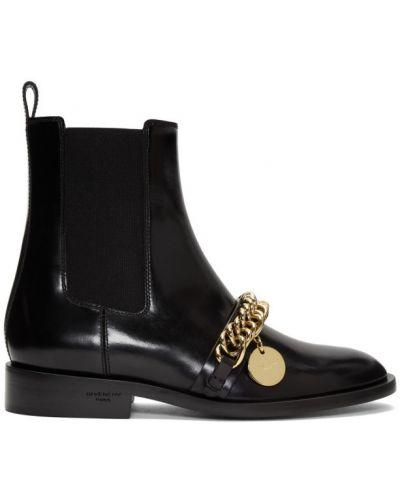 Czarny buty obcasy z prawdziwej skóry z kołnierzem na pięcie Givenchy