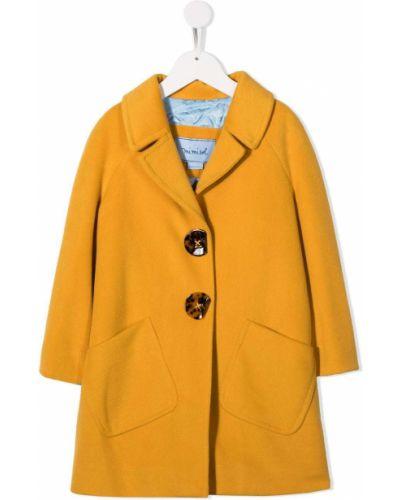 С рукавами желтое длинное пальто с воротником Mi Mi Sol