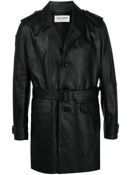 Czarny jednorzędowy skórzany skórzany płaszcz z kieszeniami Saint Laurent