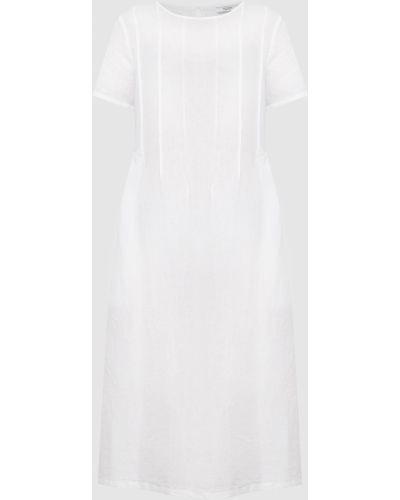 Льняное белое платье миди Peserico