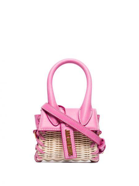 Розовая плетеная кожаная маленькая сумка Jacquemus