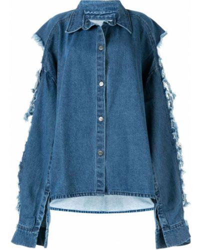 Свободная синяя джинсовая рубашка с воротником с запахом Pony Stone
