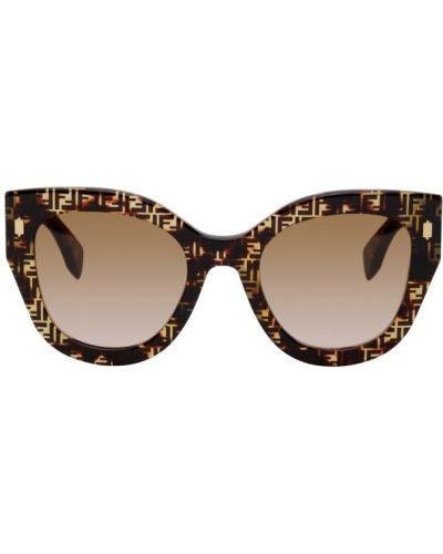 Złote różowe okulary Fendi