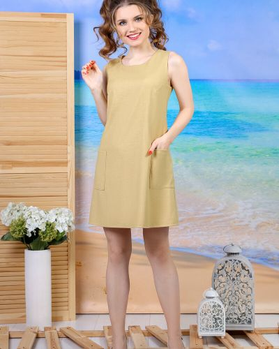 Прямое платье с принтом без рукавов из вискозы виотекс