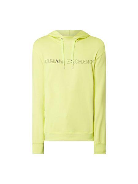 Bawełna bawełna żółty bluzka z kapturem Armani Exchange