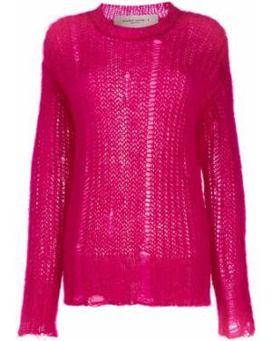 Розовый шерстяной вязаный длинный свитер Golden Goose