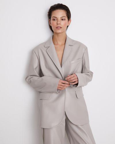 Мягкий серый кожаный пиджак 12storeez