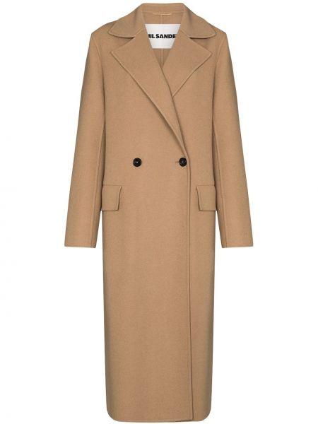 Коричневое длинное пальто на пуговицах двубортное Jil Sander