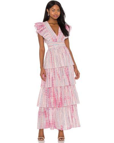 Розовое платье макси с люрексом с подкладкой Saylor