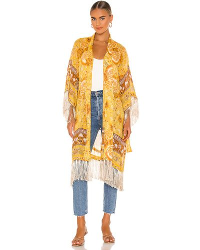 Żółty szlafrok bawełniany z frędzlami Spell & The Gypsy Collective