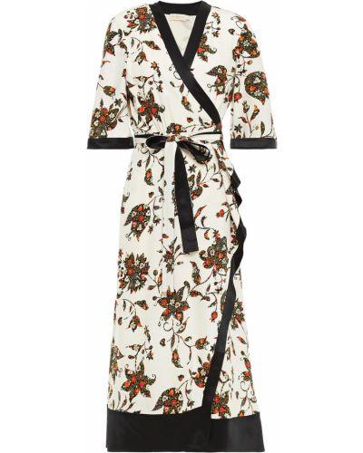 Шелковое платье миди - бежевое Tory Burch
