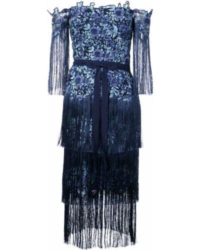 Платье с бахромой с цветочным принтом Marchesa Notte