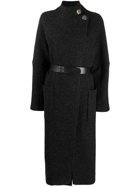 С рукавами шерстяное черное длинное пальто Ba&sh