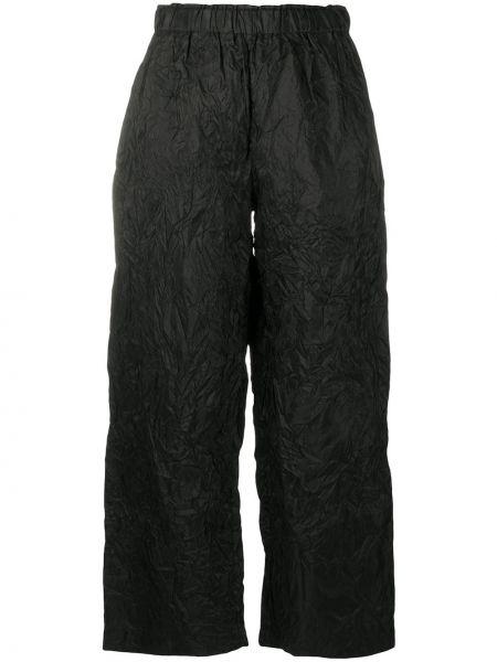 Шелковые черные укороченные брюки с поясом свободного кроя Daniela Gregis