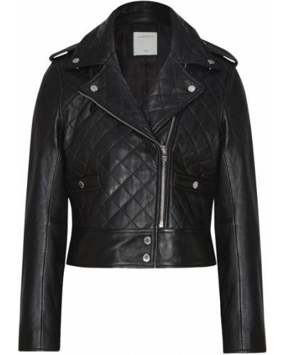 Кожаная куртка черная байкерская Sandro