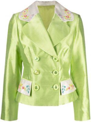 Зеленый шелковый удлиненный пиджак двубортный A.n.g.e.l.o. Vintage Cult