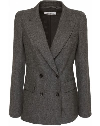 Серый фланелевый пиджак с карманами двубортный Max Mara