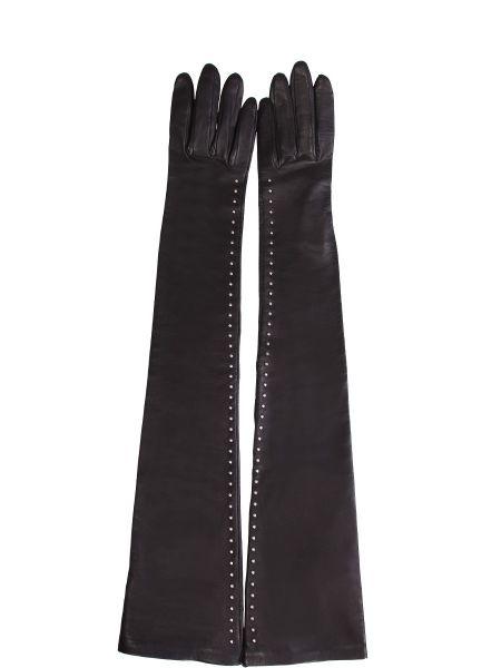 Кожаные перчатки длинные с бусинками A.mcqueen