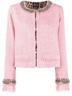 Розовый удлиненный пиджак твидовый с бахромой Blumarine