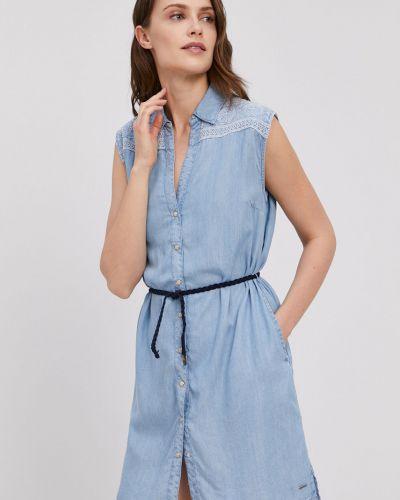 Niebieska sukienka jeansowa materiałowa Pepe Jeans