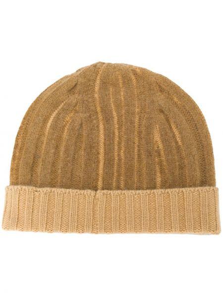 Коричневая теплая шапка бини с отворотом в рубчик Warm-me