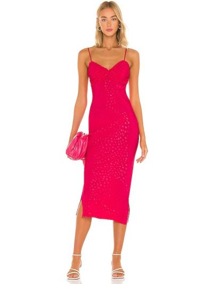 Różowa sukienka elegancka Majorelle