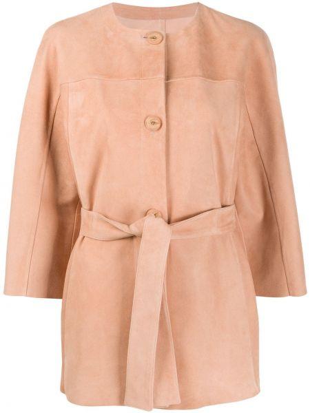 Розовый кожаный пиджак на пуговицах Drome