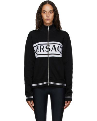 Белый шерстяной длинный свитер с воротником Versace