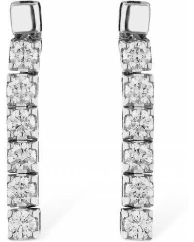 Białe złote kolczyki sztyfty z diamentem Vanzi