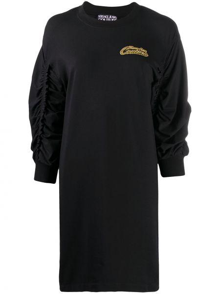 Черное платье макси с длинными рукавами с оборками стрейч Versace Jeans Couture