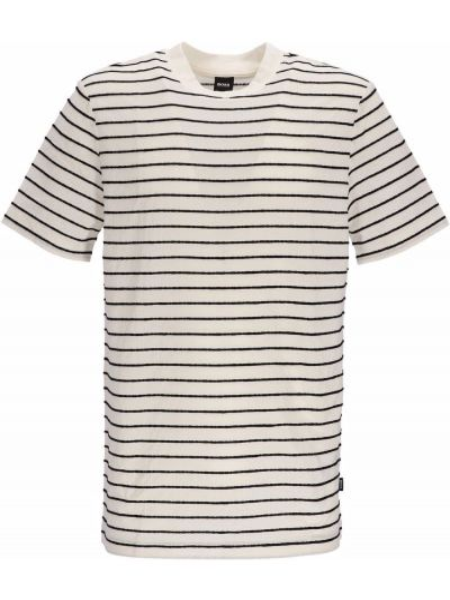 Biała lniana koszulka Boss Hugo Boss