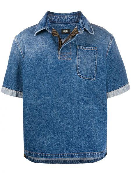 Koszula krótkie z krótkim rękawem klasyczna dżinsowa Fendi