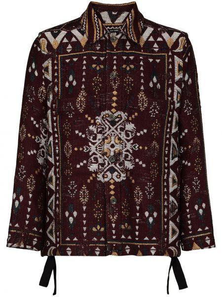 Brązowa długa kurtka wełniana z haftem Song For The Mute