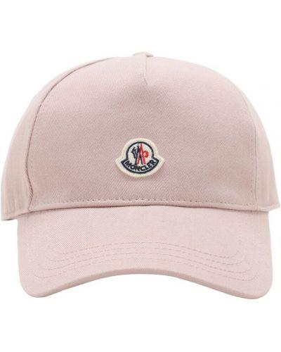 Różowa czapka z haftem bawełniana Moncler