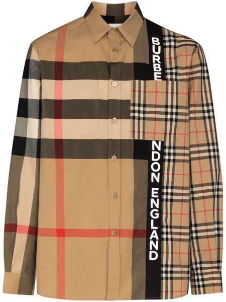 Klasyczna koszula z kołnierzem z kieszeniami niejednolita całość z łatami Burberry