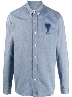 Длинная рубашка - синяя Ami Paris