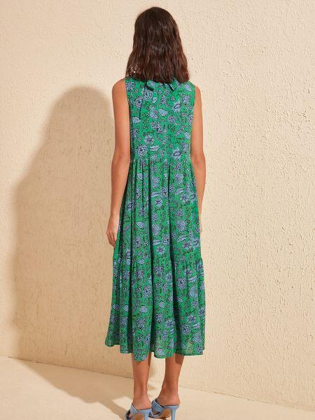 Хлопковое платье свободного кроя без рукавов с воротником Trendyol