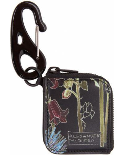 Skórzany czarny brelok wytłoczony Alexander Mcqueen